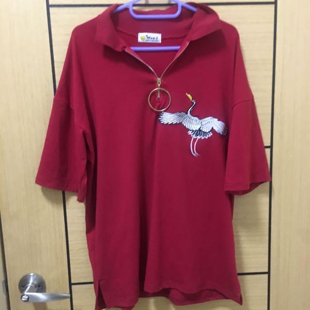 刺繡鶴紅上衣(原價590)