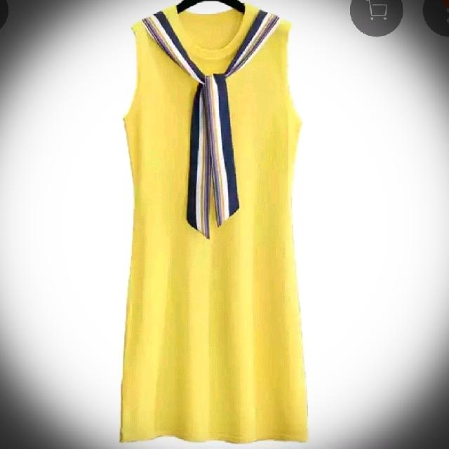 韓版黃色冰絲針織無袖背心中長洋裝