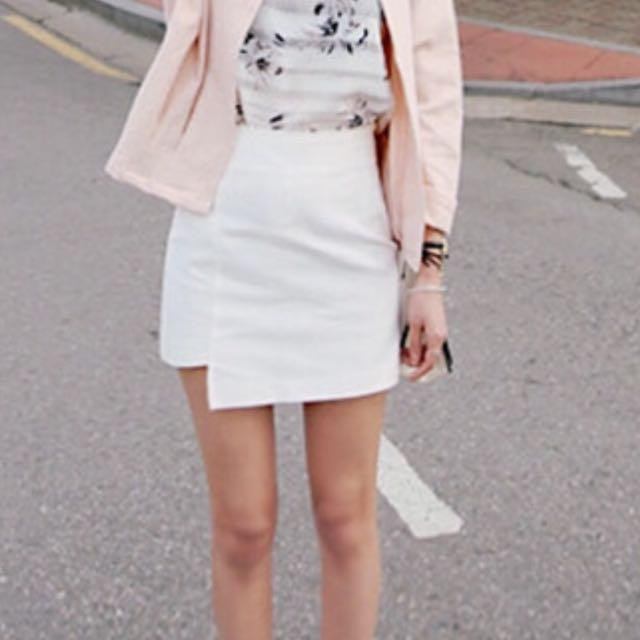 白色 不規則短裙 褲裙