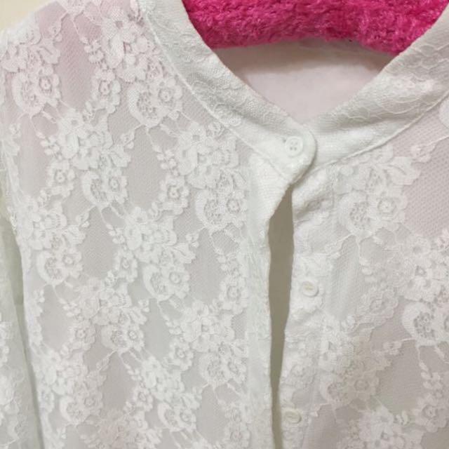 白色蕾絲不等長裙擺連身洋裝