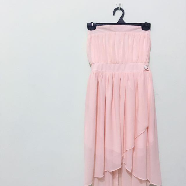 粉紅平口洋裝