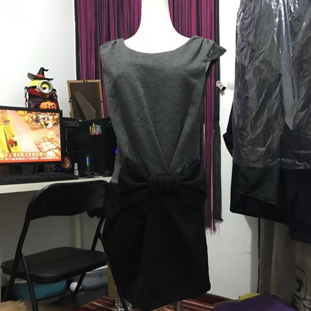 全新甜美氣質灰色洋裝(含運)