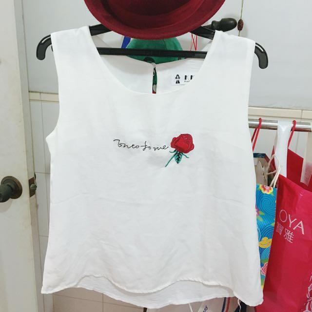 玫瑰刺繡上衣 背心