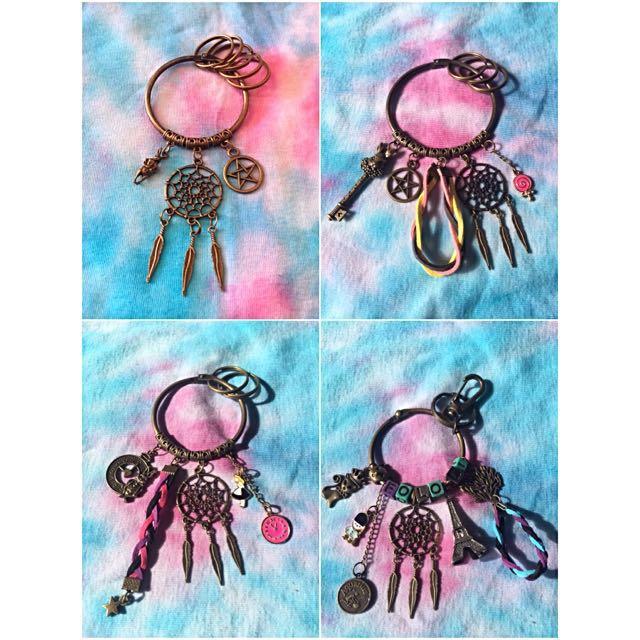 🎀客製 古銅捕夢網鑰匙圈❣️可自選吊飾 復古管家大鑰匙圈 麂皮流蘇款 情人節禮物 生日禮物