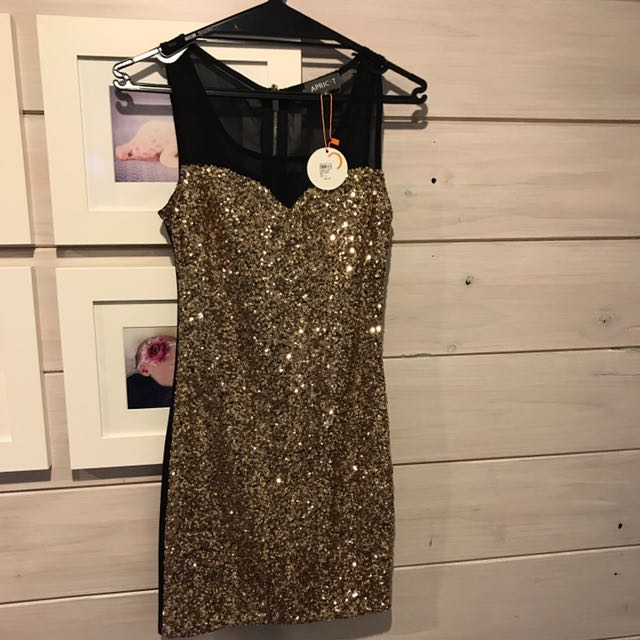 Apricot gold sequin bodycon dress