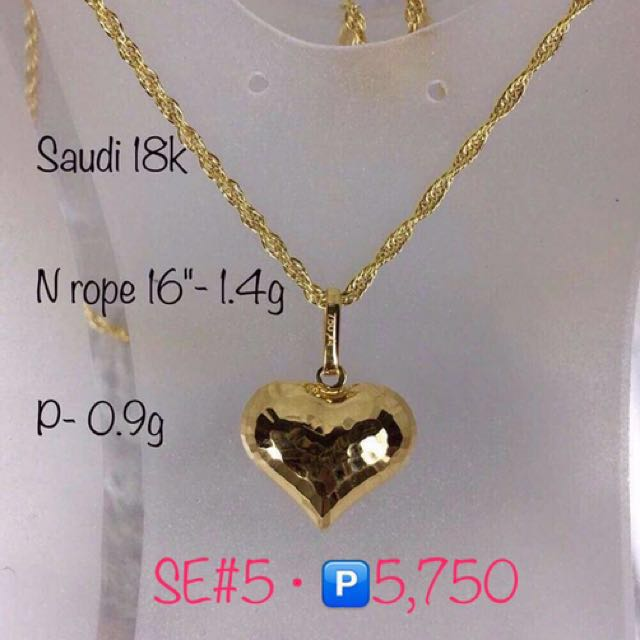 Authentic 18k saudi gold 14g heart pendant necklace preloved photo photo photo aloadofball Image collections