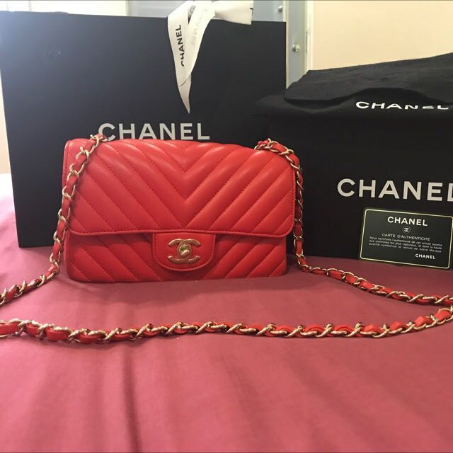 Authentic Red Chanel Mini Flap Bag Lambskin 660058e17f6e