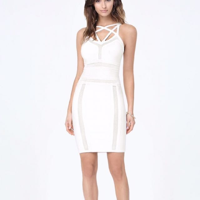 Bebe Mesh & Caged Bodycon Dress