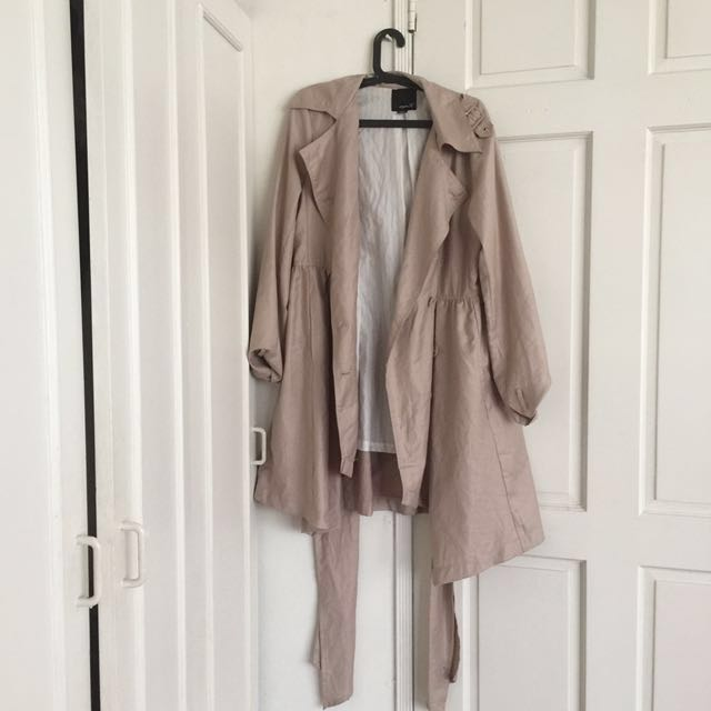 Beige/ Neutral Colored Fall Or Winter Trench Coat