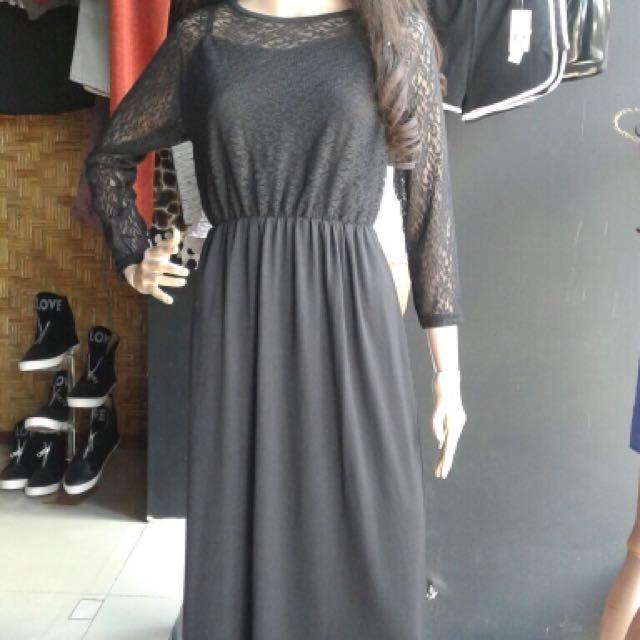 black long dress brukat