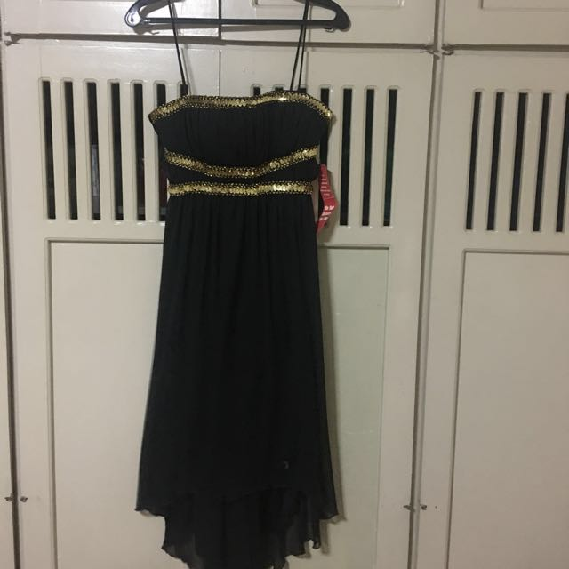 Black with Gold sequins Cocktail Dress