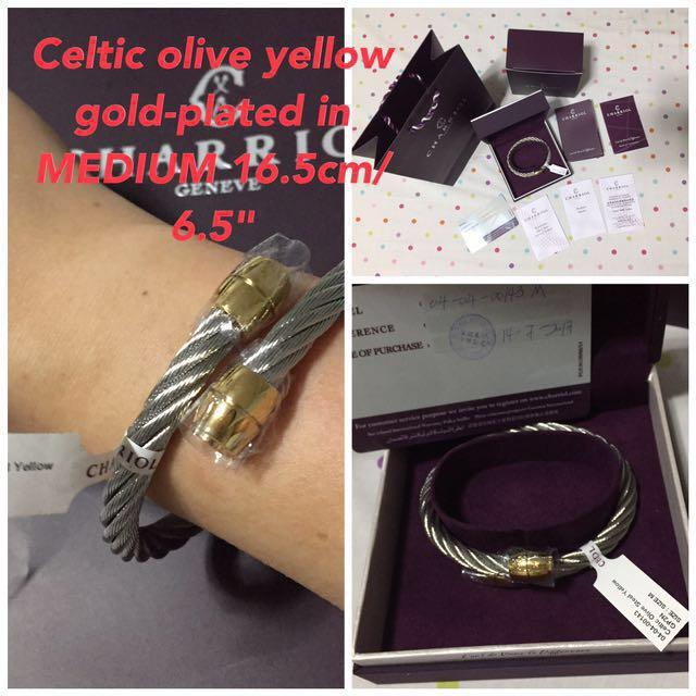 BNEW ORIG Philippe Charriol Celtic Olive Yellow Gold Bangle (Medium)