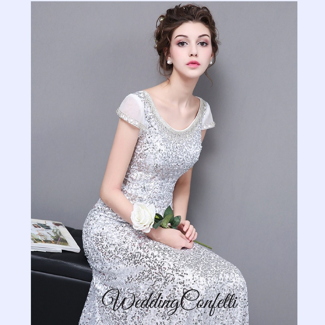 Brand New* Maya Wedding Bridal Sequins Silver Mermaid Gown / Dress ...