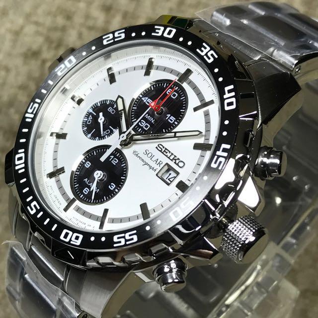 Brand New Seiko Solar Alarm Chronograph Panda Ssc297 Case Width