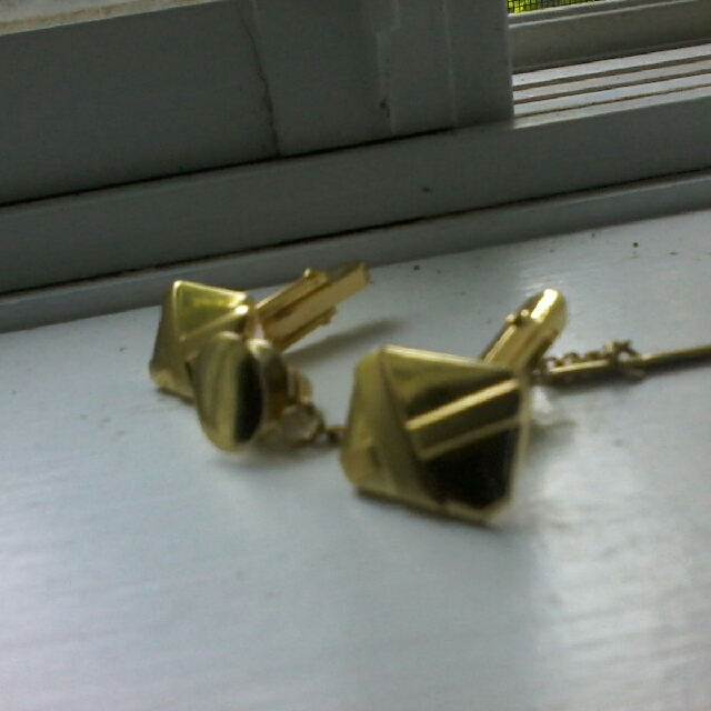 Brass Cufflincks with Tie Clip