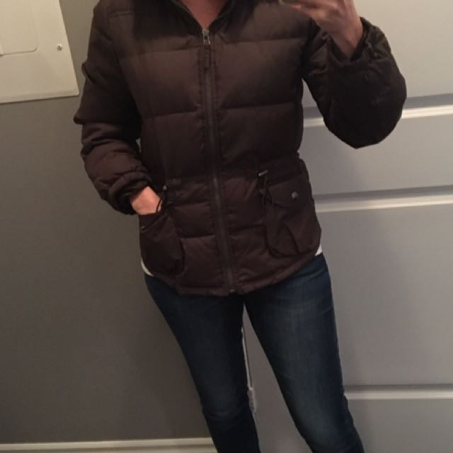 Brown down-filled winter coat