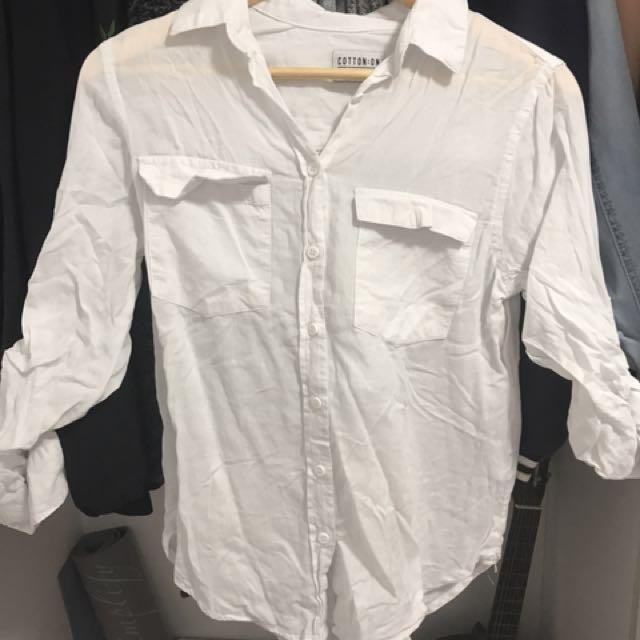 Cotton on white blouse