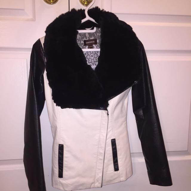 Danier Leather Jacket with Real Rabbit Fur Trim