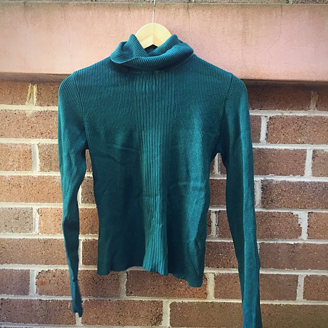 🌸Dotti Ribbed Dark Green Turtleneck Shirt