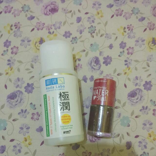 Etude house WATER tint And hada labo Cleansing oil