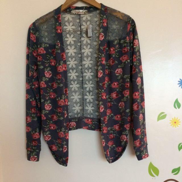 Floral lace back cardigan