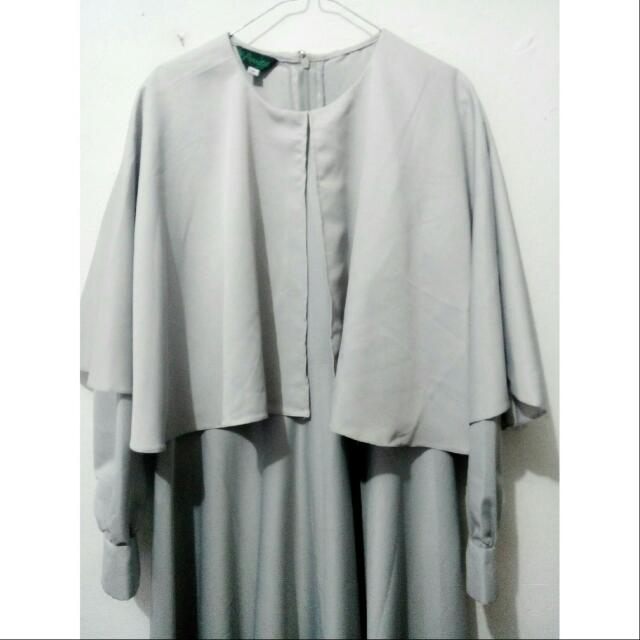 Grey Abaya With Cape - Gamis