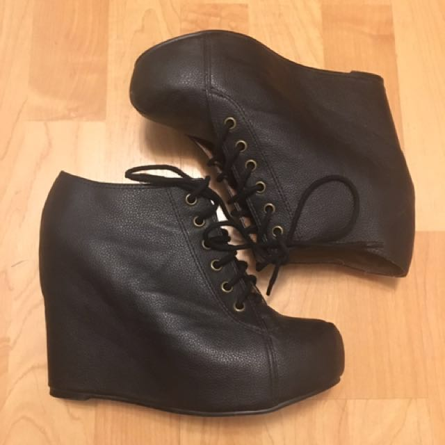 Jeffrey Campbell 99 Lace Up Wedge Booties In Black Leather