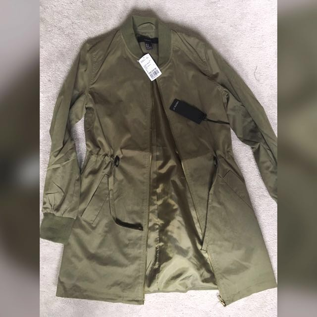 Longline Army Green Jacket size small