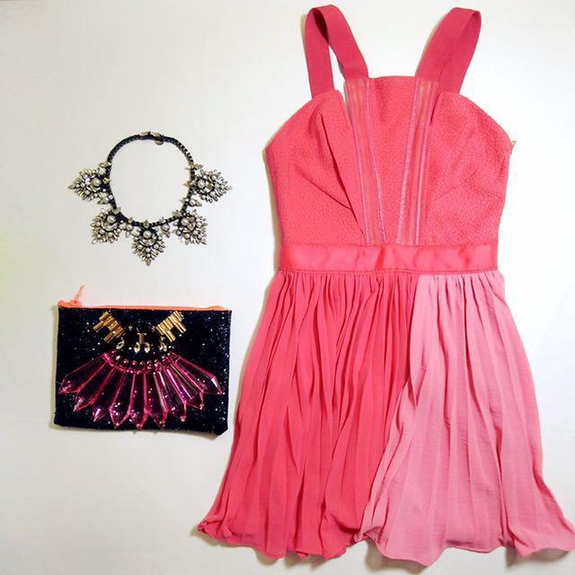 百折洋裝(西瓜紅M)