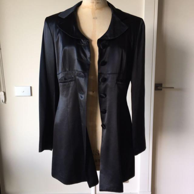 MAKE ME AN OFFER! Size 12 Innovare Black Sateen Long Line Jacket