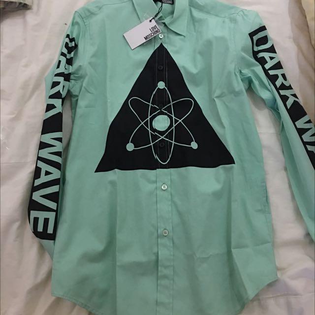 Moschino 全新超好看青綠色純棉襯衫 男生S號