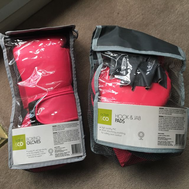 pink boxing gloves and mits