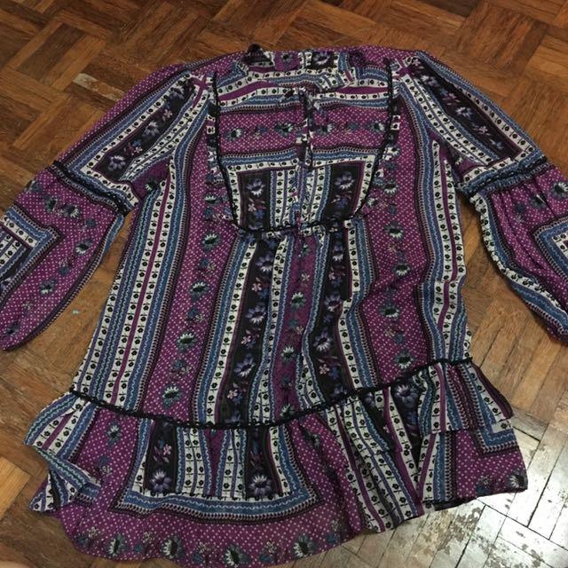 Purple chiffon 3/4 sleeve loose top