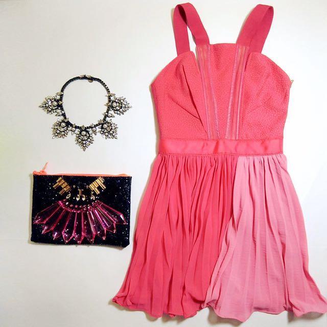 百折洋裝(西瓜紅S)