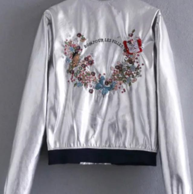 Silver Floral Embroidery Jacket