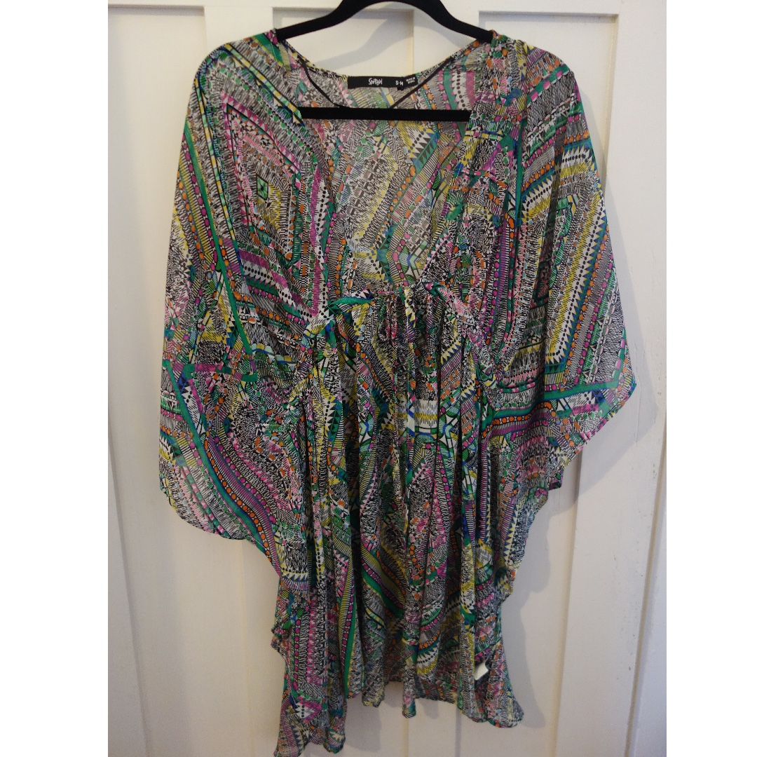 Sportsgirl printed sheer kaftan/top/beach coverup - size S-M