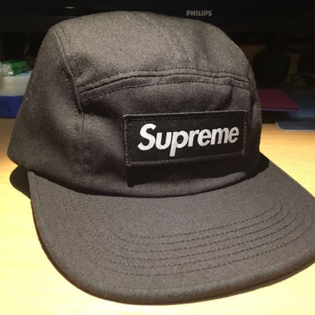 37b114c4 Supreme NYCO Twill Camp Cap FW17 黑色厚章, Men's Fashion, Men's Accessories on  Carousell