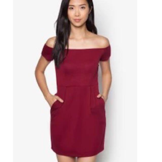 Zalora Maroon Off Shoulder Tulip Dress