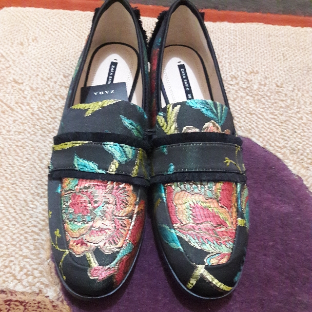 ZARA . Frayed Jacquad Loafers ( Size : 39 / Flat Shoes )