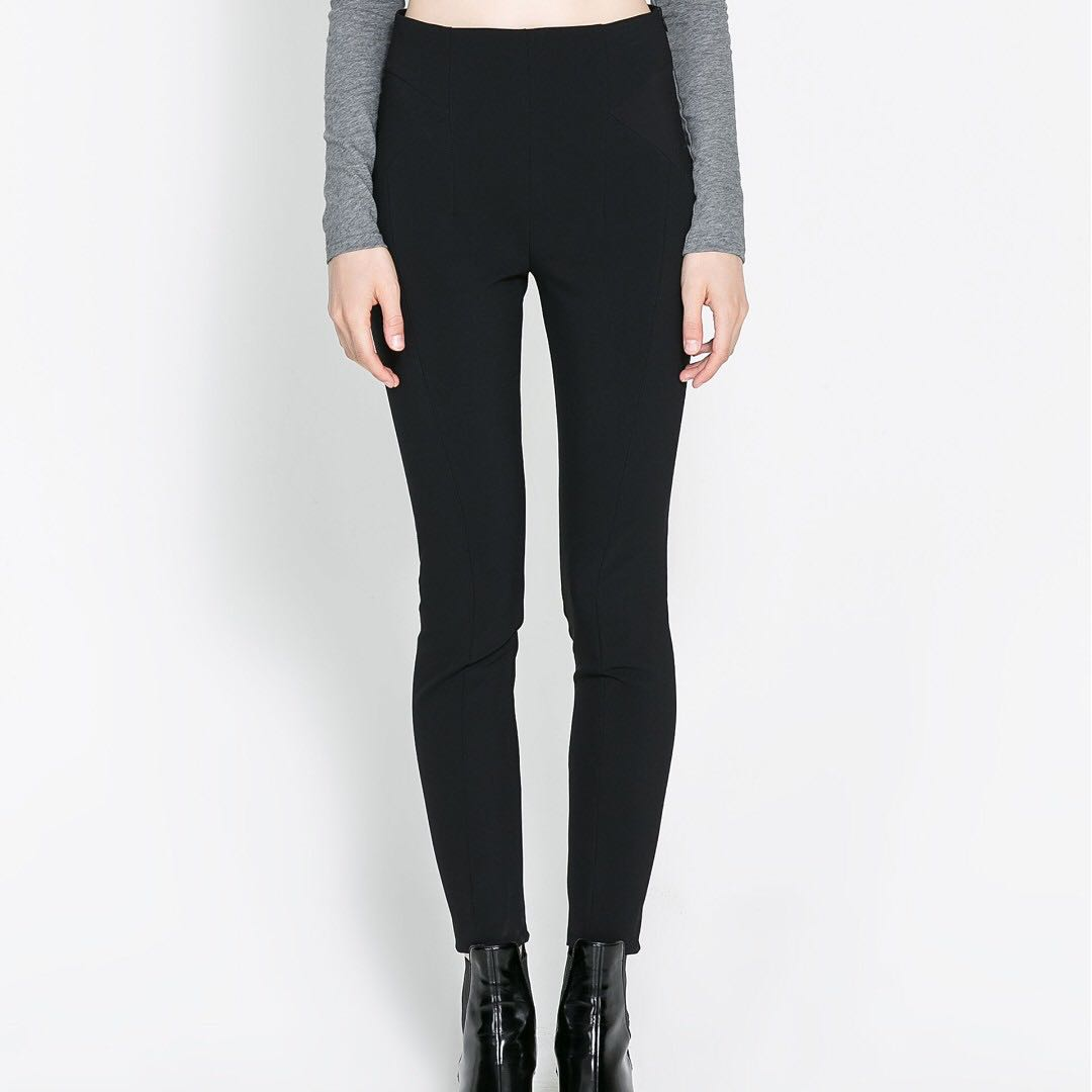 9a17fe95 Zara high-wasted black trouser leggings with elasticated waist ...