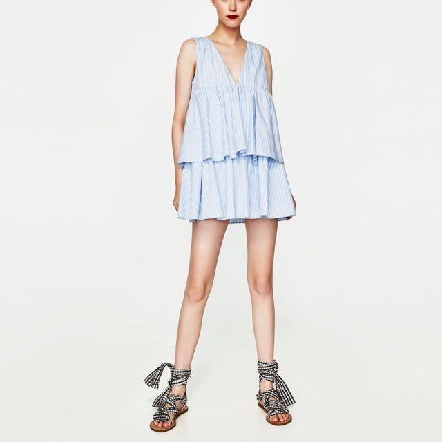 3b5436a4b Zara Striped Jumpsuit Dress with Ruffles