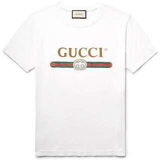 (L size ) Gucci Logo Limited Edition Printed Cotton-Jersey T-Shirt