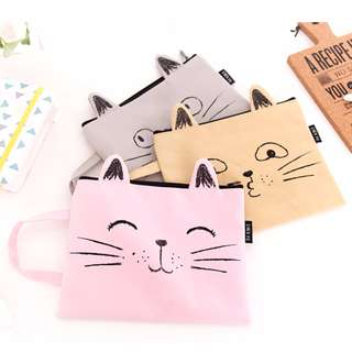 Cat Face Folder Bag with Handle (A4 & A5 sizes available)