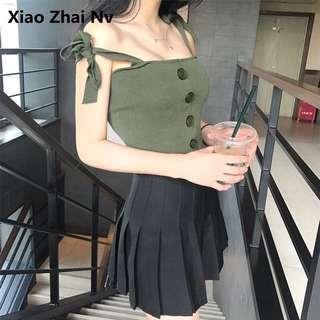 針織綁帶背心(綠)