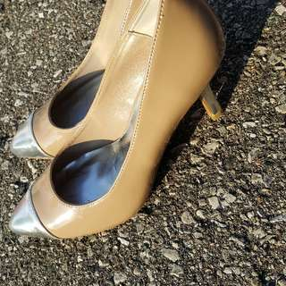 Beige and Silver Heels