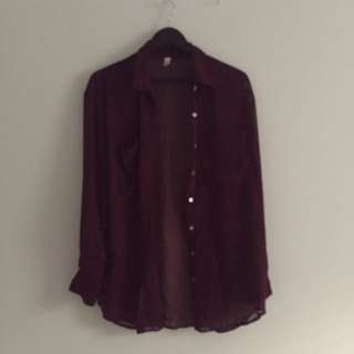 American Apparel Chiffon Button Up