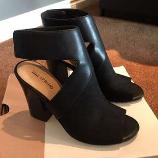 Call it spring black open toed heels