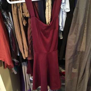 Maroon Cross Back Flare Dress