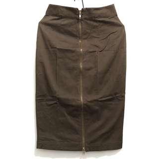 Brown zip up pencil skirt