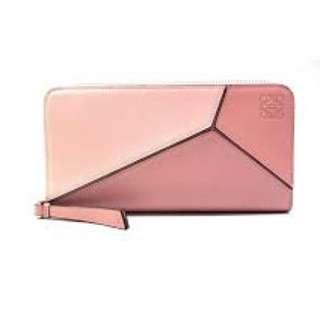 Loewe puzzle wallet (粉紅拼色)